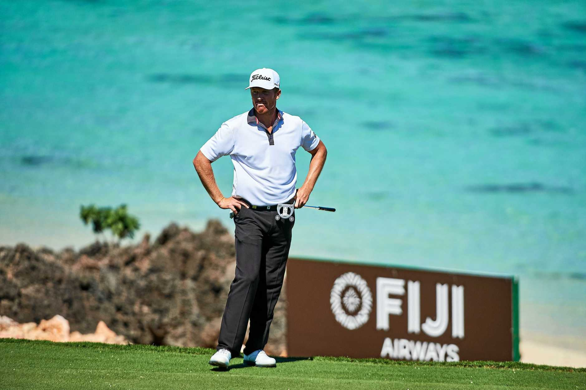 Andrew Dodt during his opening round today at the Fiji International.