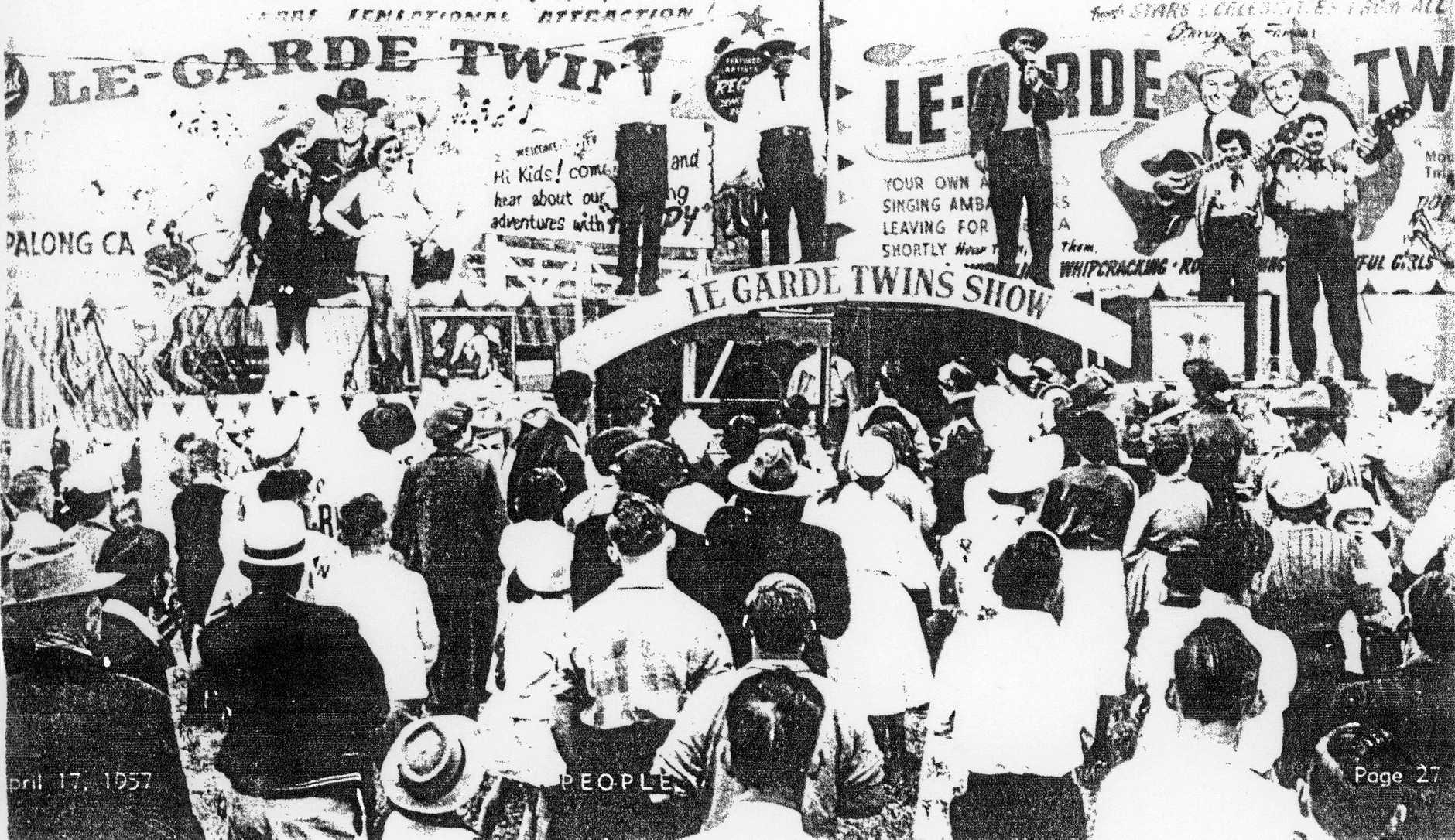 Tom and Ted LeGarde found fame in Australia in the 1950s and joined a travelling rodeo singing and riding at country shows.