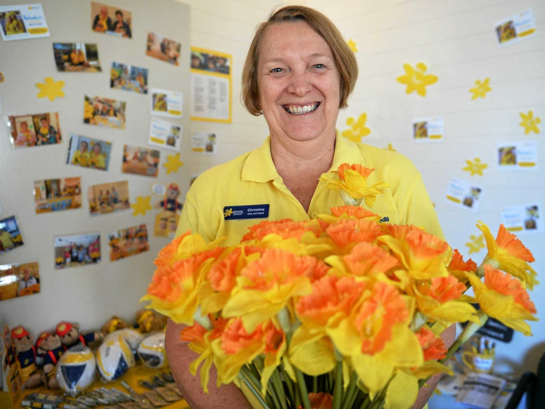 HOPE: Cancer Council volunteer Christine Dobele getting ready for Daffodil Day.