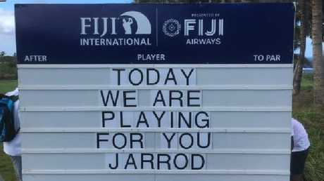 The leaderboard at the Fiji International golf tournament at Natadola Bay pays tribute to Jarrod Lyle