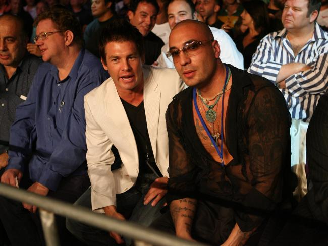 Former AFL star  Ben Cousins  with  Fabian Quaid at the Anthony Mundine-Nader Hamdan fight at the Sydney Entertainment Centre in February  2008.