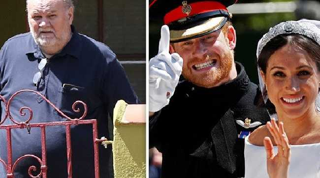The royal family are concerned by the behaviour of Meghan Markle's dad Thomas. Picture: Supplied