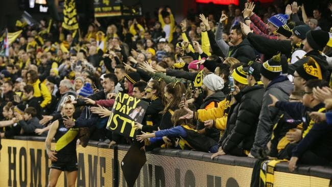 Richmond has urged well ahead of its Victorian rivals in memberships. Picture: Michael Klein