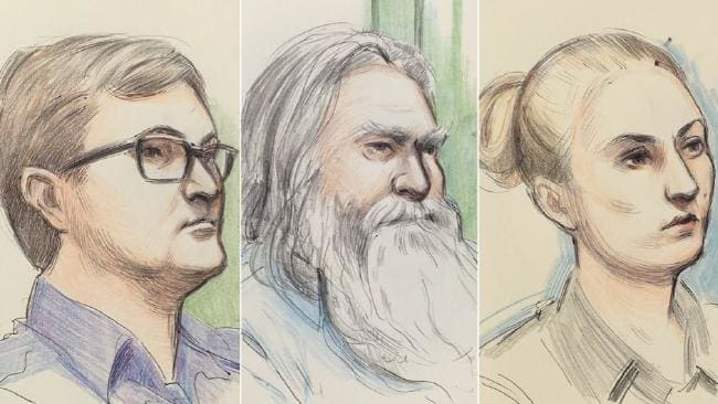 Court sketch showing Matthew Fisher-Turner, Ernest Fisher and Hannah Fisher-Turner. Picture: Anne Barnetson Perth.
