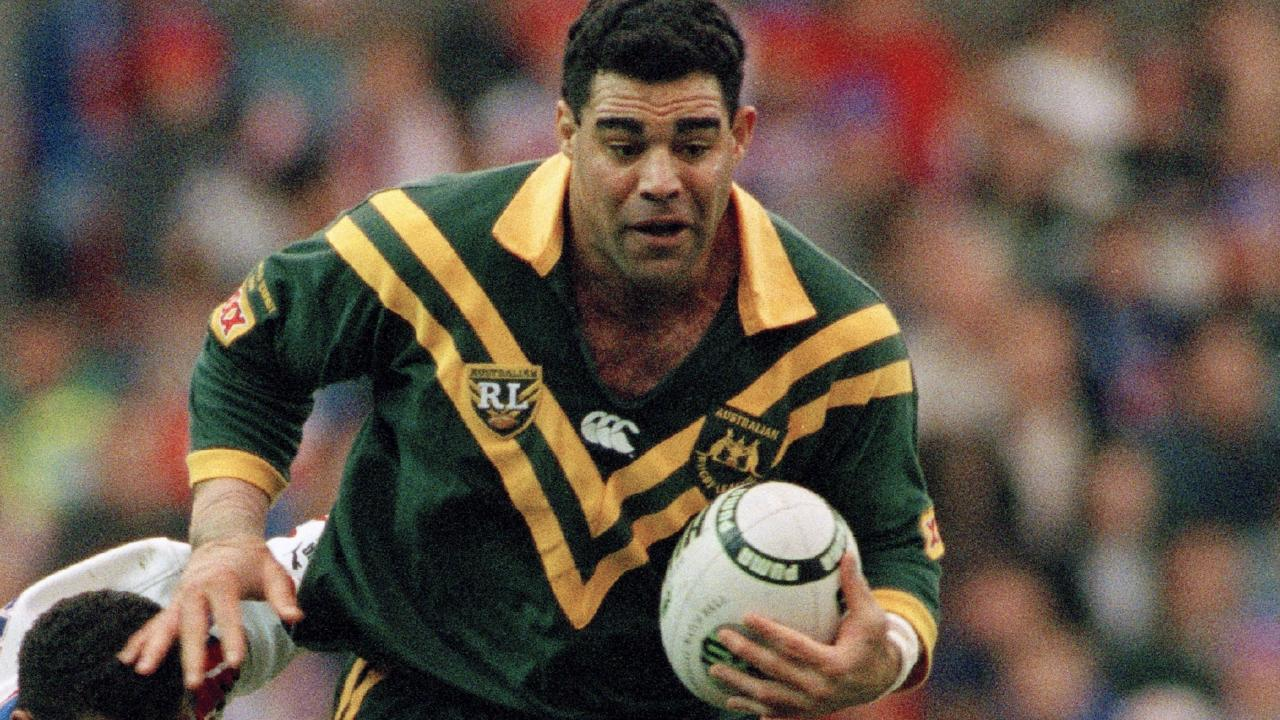 Mal Meninga in action for the Kangaroos in 1994, a team he now presides over as coach. Picture: Getty