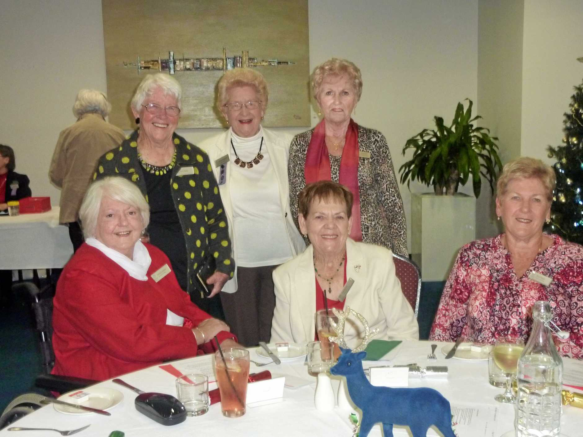 CHRISTMAS IN JULY: Penny Chidlow, Kath Barker, Elaine Hitchcock, Pat Porter, Janette Cambridge and Beryl Moye enjoy the Caloundra Evening VIEW club dinner.