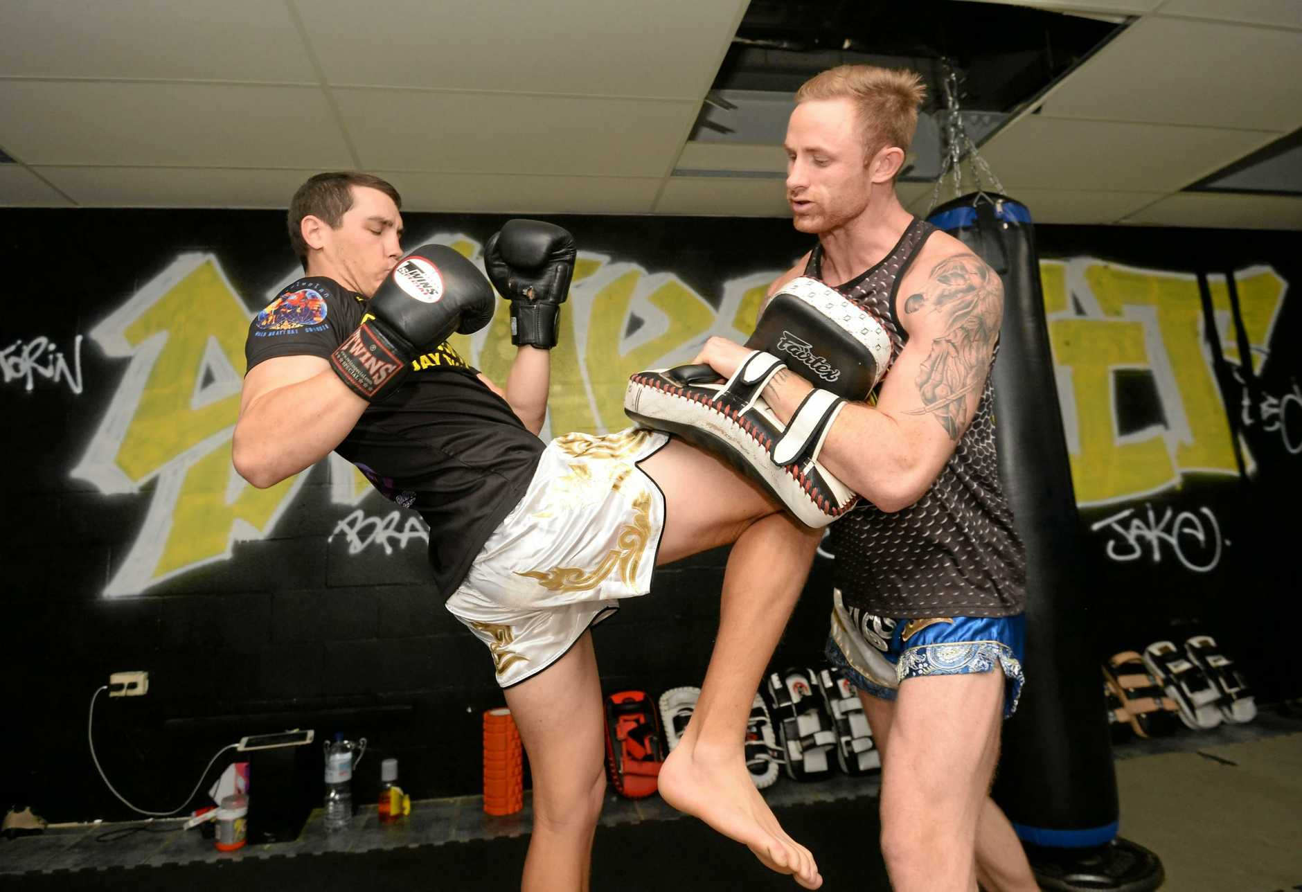 Rocky Rumble 18 fighters Luke Ruddick and Torin O'Brien training at The Snake Pit.