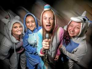It's a 'Onesie' karaoke party at the Jacaranda Hotel
