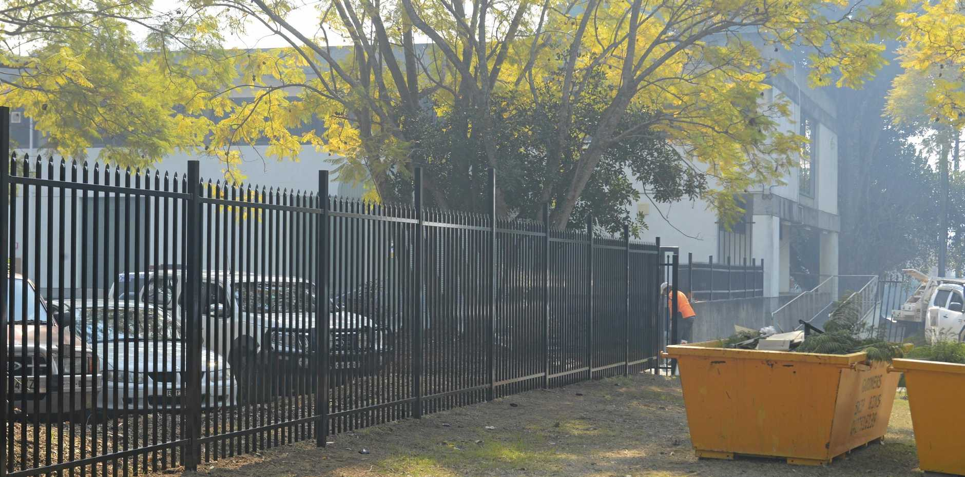 SAFETY FIRST: A fence has been erected around the carpark of the Grafton Police Station.