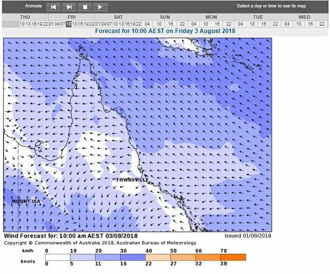Marine Wind Forecast for Friday 10am.