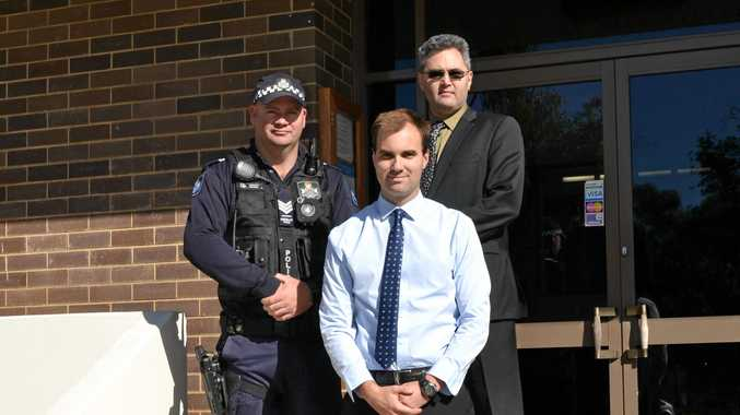 WELCOME: Blackwater police officer-in-charge Sergeant Rob Smith, Senior Constable Sam Angus and Sergeant Michael Froggatt.