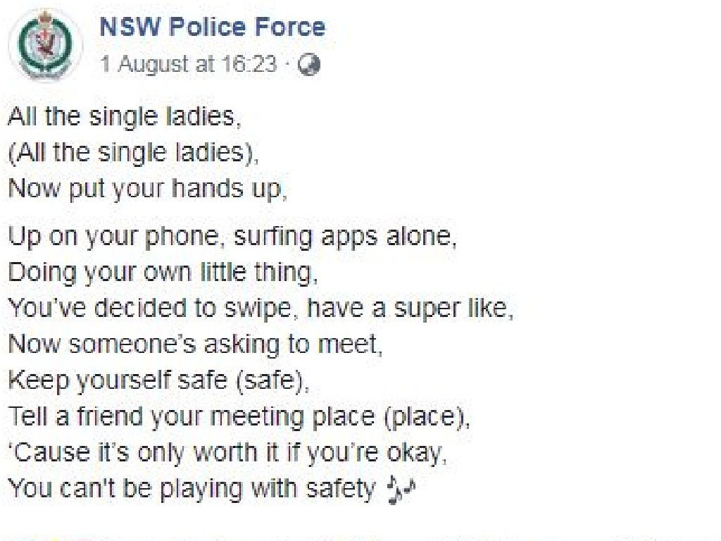 Police were called out for this 'victim blaming' post. Picture: NSW Police Force/Facebook