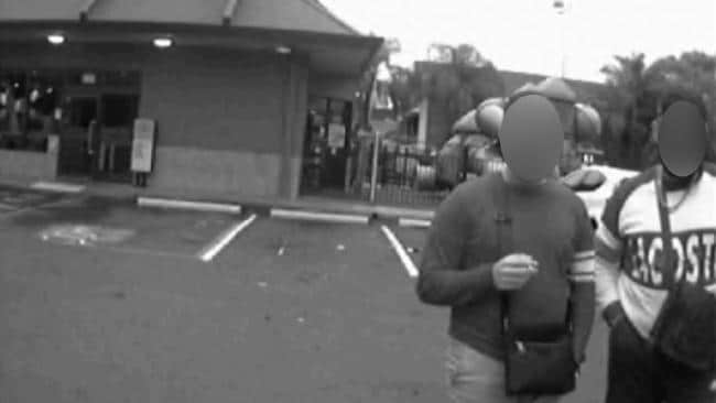 Taxi CCTV footage of the accused rapist (right) and one of his friends (left) as the alleged victim got into the vehicle outside North Parramatta McDonald's.