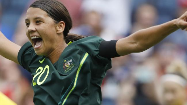 Is there anything Sam Kerr can't do? Picture: Colin E Braley/AP