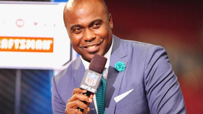 ST. LOUIS, MO - SEPTEMBER 26: NFL Network Analyst Marshall Faulk speaks during the pregame of NFL Network telecast at the Edward Jones Dome on September 26, 2013 in St. Louis, Missouri. (Photo by Michael Thomas/Getty Images)