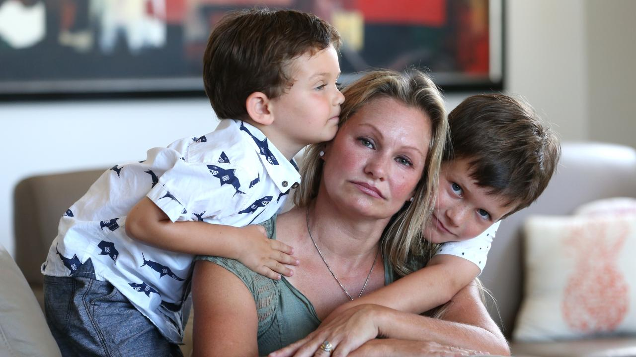 File photo of Danica Weeks with her two children l-r Jack and Lincoln, taken last year at their home in Mt Coolum, Sunshine Coast.  Photo: Lyndon Mechielsen