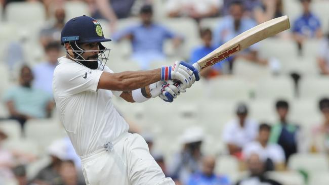 Virat Kohli has blasted his way to his first ton on English soil. Picture: AP