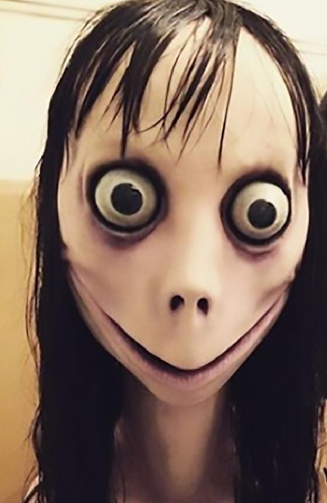 The Momo profile itself features a disturbing image of a distorted young woman, with eyes bulging out of their sockets, straggly black hair and bird legs.