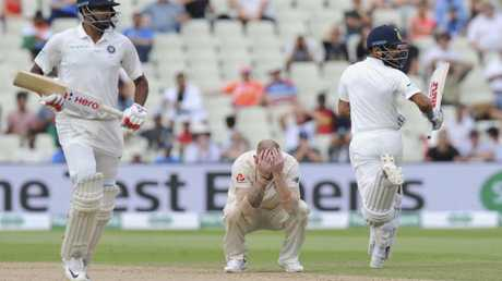 Ben Stokes had his head in his hands after Kohli was dropped. Picture: AP