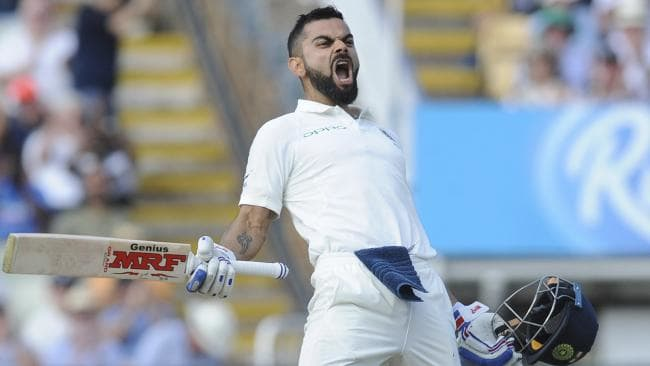 Indian captain Virat Kohli lets out a scream after scoring his first century in England. Picture: AP
