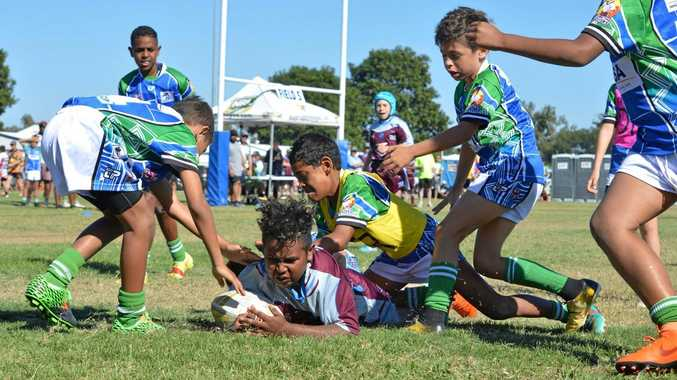 CRASHING THROUGH: Panthers forward Keripo Gela scores another one for Biloela against Thursday Island at the Laurie Spina Shield.