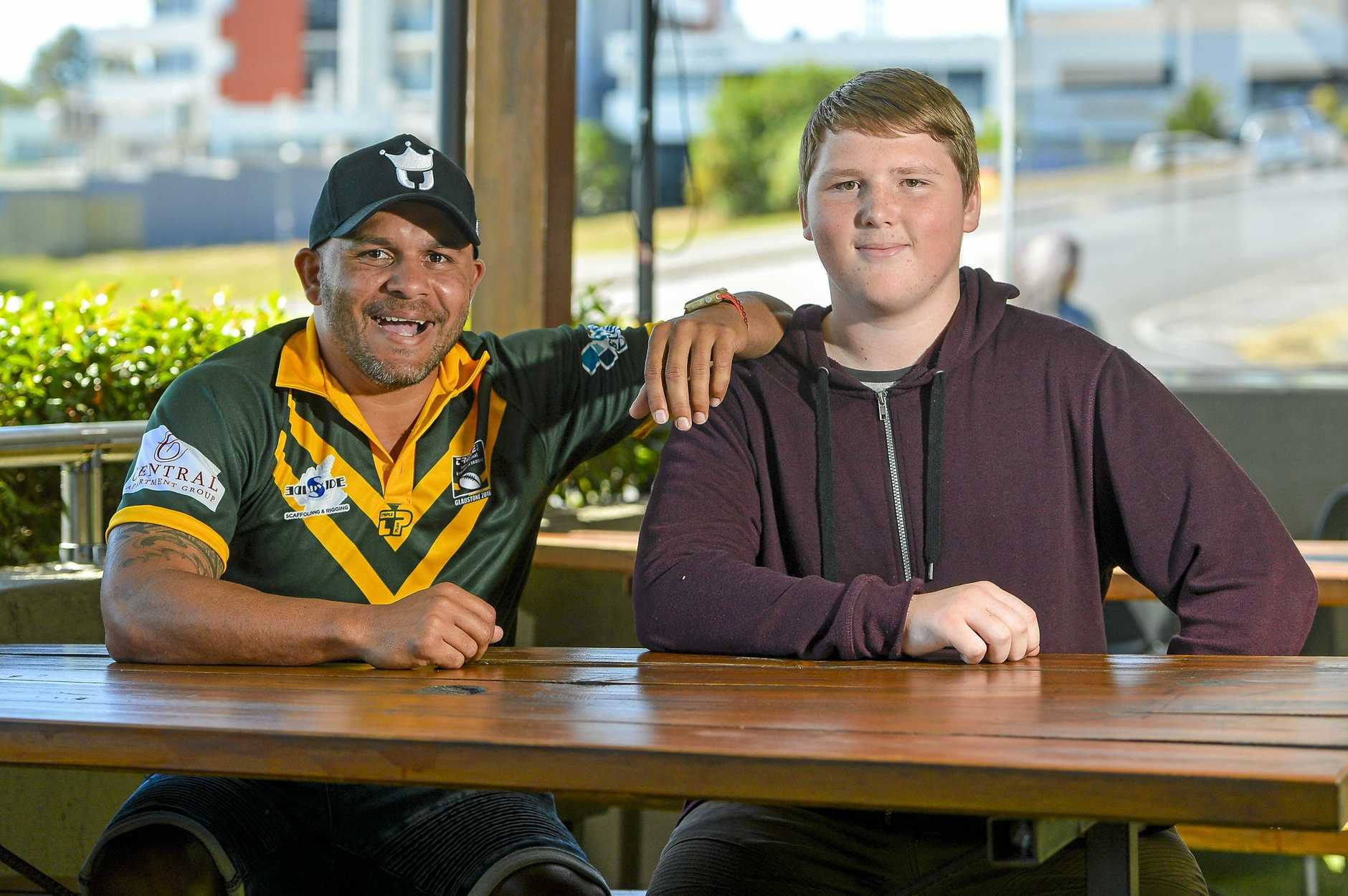 DOUBLE TROUBLE: Gladstone boy, Matt Bowen was named after his parents' favourite football player, Matt Bowen, who he met at Central Lane Hotel Gladstone, during the tour of the Rugby League Legends of League tour.