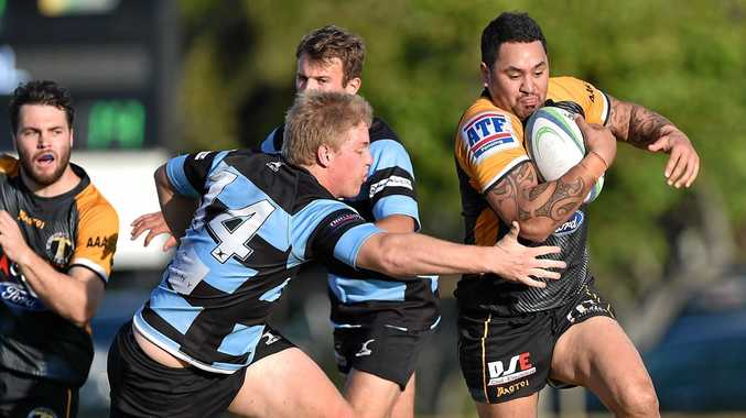 ON THE BURST: Caloundra's Rawiri Wilson against Maroochydore at Cotton Tree on Saturday.