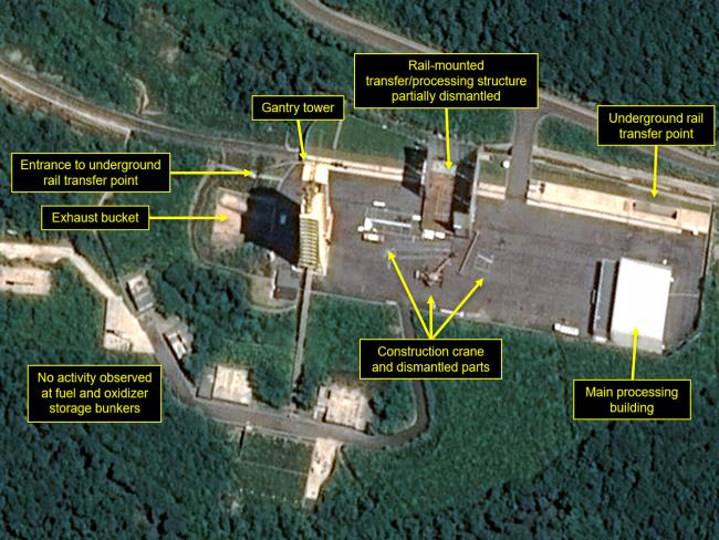 This satellite image released and annotated shows what twas said to be the partial dismantling of North Korea's nuclear facilities. Picture: AP