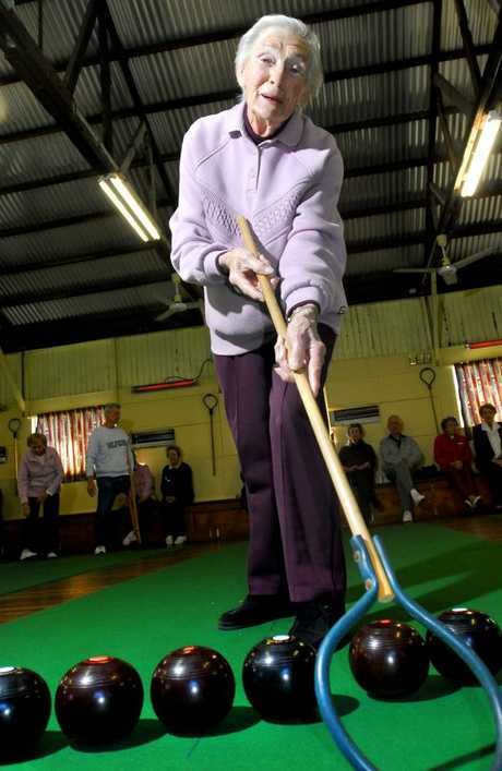 Linda Paddon pictured at indoor bowls, aged 96.