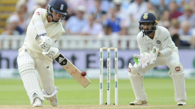 England's Sam Curran on his way to a maiden half-century. Picture: AP
