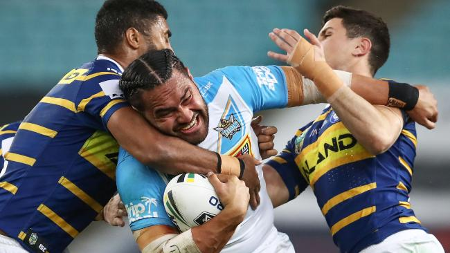 No way through for Konrad Hurrell. (Photo by Brendon Thorne/Getty Images)