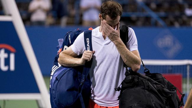 An emotional Andy Murray steps off the court after defeating Marius Copil in three sets. Picture: AP