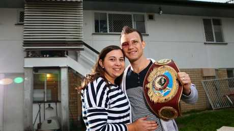 World Champion boxer Jeff Horn and his wife Jo at their first home in Acacia Ridge. Picture: Adam Head