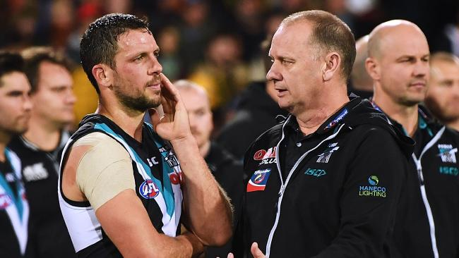 Port captain Travis Boak and coach Ken Hinkley in the wake of the three-point Showdown loss. Picture: Mark Brake/Getty Images