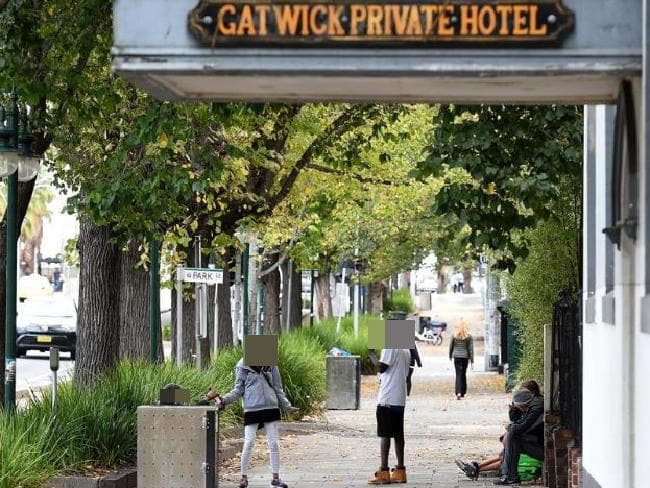 People gathered outside the Gatwick Hotel in St Kilda, Melbourne weeks before it closed down. Picture: Mal Fairclough.