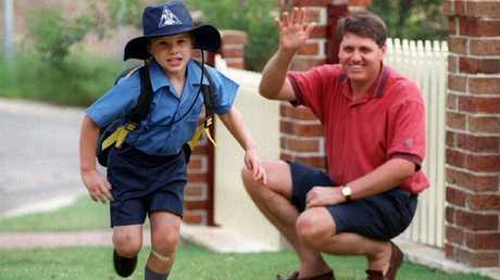 Radio personality Ray Hadley with his then-five-year-old son Daniel.