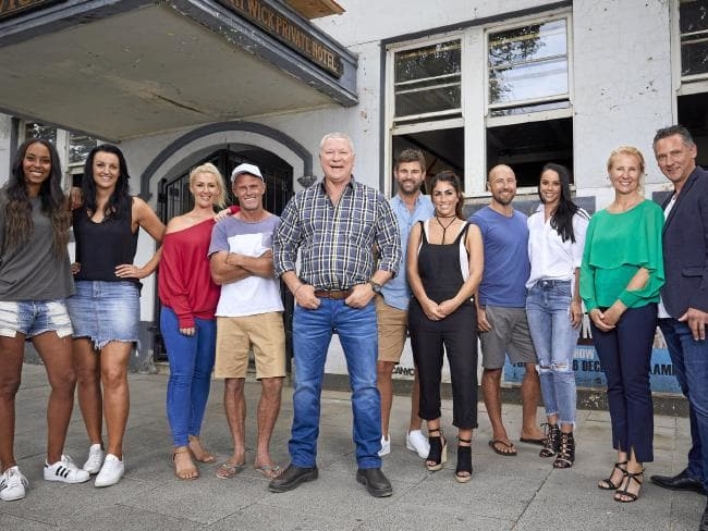 The Block host Scott Cam, centre, with this year's teams outside The Gatwick in St Kilda. Picture: Channel 9.