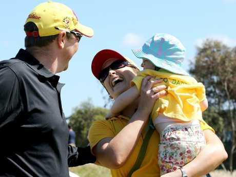 Lyle with daughter Lusi and wife Briony at the Australian Masters. Picture: Wayne Ludbey
