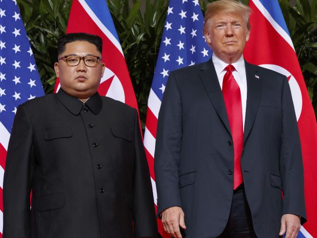 US President Donald Trump meets with North Korean leader Kim Jong-un. Picture: AP