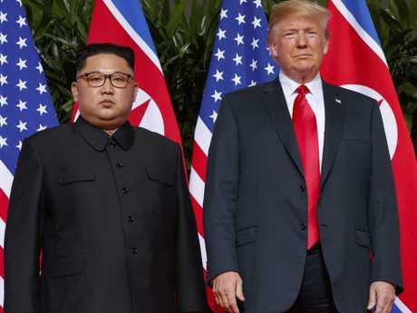 US President Donald Trump meets with North Korean leader Kim Jong-un. Picture: AP