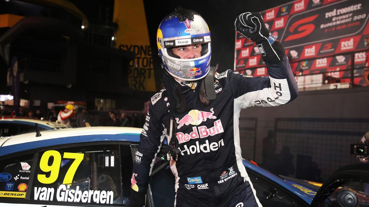 Shane van Gisbergen celebrates winning the Sydney SuperNight 300 race on Saturday. Picture: Tim Hunter