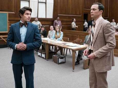 Zac Efron and Jim Parsons in a scene from the new movie about serial killer Ted Bundy.