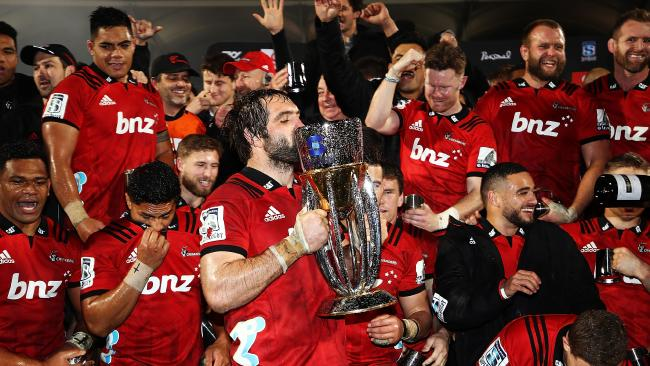 The Crusaders celebrate after winning the Super Rugby final in Christchurch.