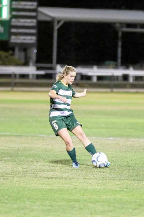 Western Pride goal scorer Kate Muscat sets up another attacking opportunity in her team's 3-1 win over Mitchelton.