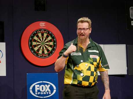 Simon Whitlock celebrates his win.