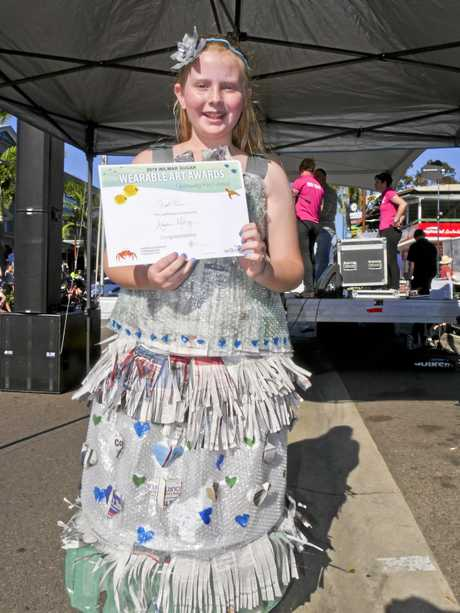Amelia McKay (10) from Cannonvale State School at the Wearable Art competition at the Whitsunday Reef Festival on Saturday afternoon.