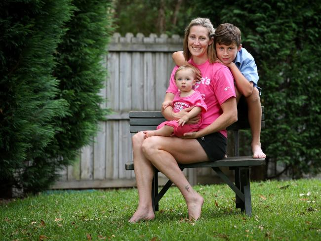 Jana Pittman at home in Sydney with son Cornelis and eldest daughter Emily.  Picture: Richard Dobson