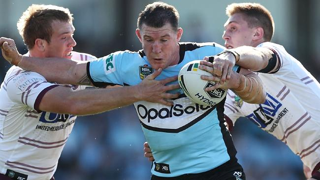 Paul Gallen runs the ball for the Sharks against the Sea Eagles. Picture: Mark Metcalfe