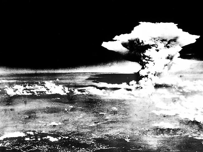A mushroom cloud over the city of Hiroshima, taken on a reconnaissance plane that flew with US air force bomber Enola Gay that dropped the atomic bomb.