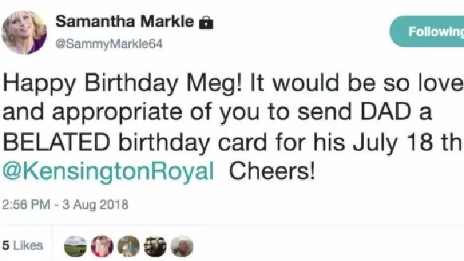 Meghan Markle faced yet another slur from her sister. Picture: Twitter